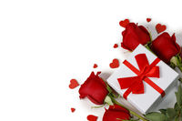 Rose flower and gift box on white