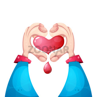 Healt, medical, love illustration. Hand and heart.