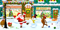 Santa, snowman and reindeer celebrate Christmas on a city street.eps