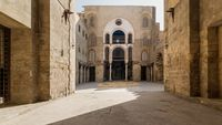 Main Iwan at courtyard of public historic mosque of Sultan Qalawun, Moez Street, Cairo, Egypt