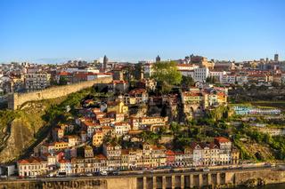 Porto Portugal city skyline at Porto Ribeira