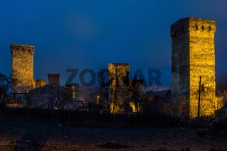 mesta defense towers at night