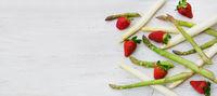 Spargel, Spargelzeit, grün, weiss, Erdbeeren, Banner, Header, Headline, Panorama, Textraum