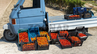 Small italian apo truck with tomatoes. Farmer sale tomatoes on the street in Italy.