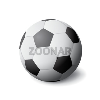 White and black soccer ball icon isolated, sports equipment, hobby and activity, vector illustration.