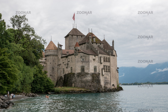 Beautiful view of famous Chateau de Chillon castle