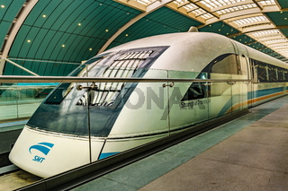 Maglev Train Parked at Station
