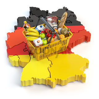 Market basket or consumer price index in Germany. Shopping basket with foods on the map of Germany.