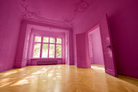 pink painted  room in beautiful flat with wooden  floor -