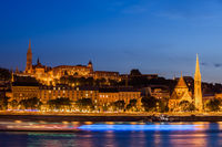 Budapest City From Danube River At Night