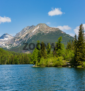 Strbske Pleso lake spring view