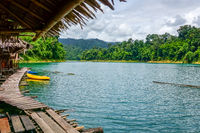 Floating village in Cheow Lan Lake, Khao Sok, Thailand