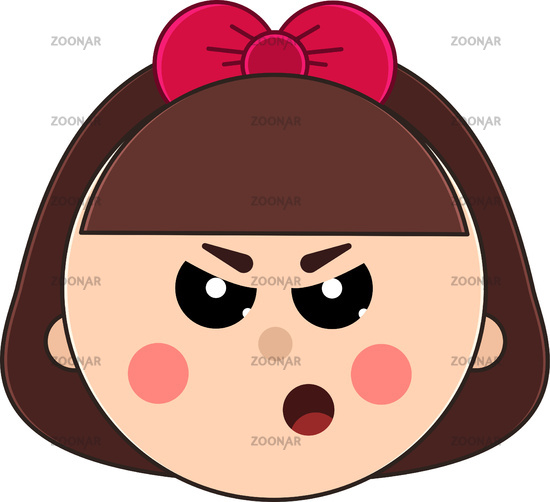 Face of little angry girl with short hair and cute bow.