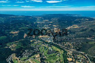 Carmel River Valley in Northern California Aerial View