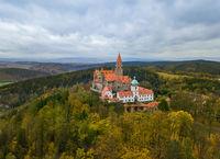 Castle Bouzov in Czech Republic - aerial view