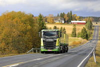 New Scania Sugar Beet Transporter in Autumn Scenery