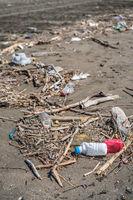 Rubbish on the beach shore