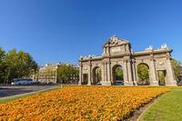Madrid Spain, city skyline at Puerta de Alcala