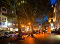 Night street Frankfurt downtown, Germany