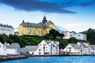 yellow building in town, Alesund, Norway