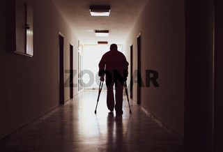 disabled in a hospital corridor
