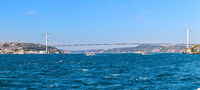 The 15 July Martyrs Bridge and the Bosphorus, sea panorama, Istanbul, Turkey