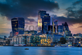 Night view of the modern part of london city scape