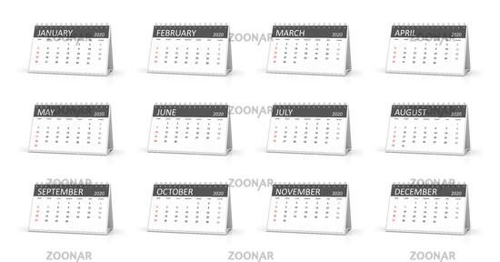 12 table calendar year 2020