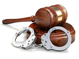 Gavel and handcuffs isolated oin white background. Law and justice concept.