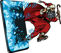 Christmas online sales concept. Santa Claus comes out of the smartphone