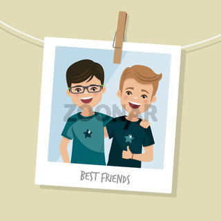 Best friends photo. Two happy boys smiling. Vector illustration