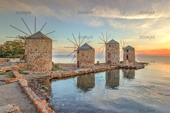 Sunrise at the windmills in Chios, Greece