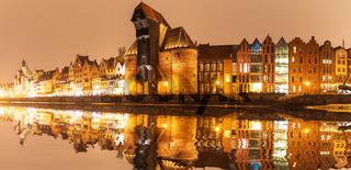 Gdansk night panorama, view on Zuraw port crane, Poland