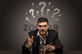Drunk disappointed man with question signs concept
