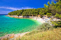 Idyllic turquoise beach in Pula summer view