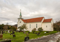 Lindesnes, Norway - October 2019: Spangereid Kirke, an old romanesque stone church from around 1100.