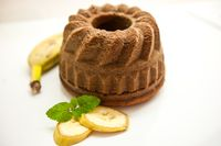 Banana Bundt Cakes on a Plate with Bananas