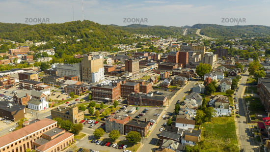 Bright and Sunny Day Aerial View Over Clarksburg West Virginia