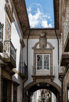 Balconies of traditional houses in Guimaraes in Portugal
