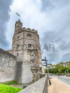 Caernarfon / Wales - May 01 2018 : Close-up of the tower of the castle at Caernarfon