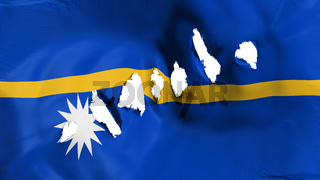 Nauru flag perforated, bullet holes