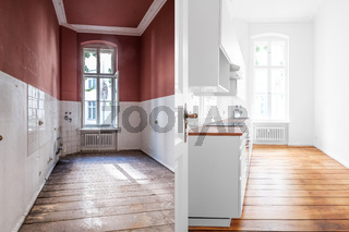 renovation concept -kitchen room before and after refurbishment or restoration  -