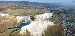 Panoramic Aerial Drone View Pamukkale Landscape