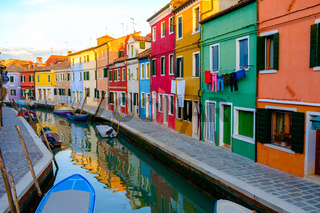 Colorful house in Burano island, Venice,