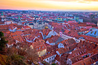 Amazing Graz cityscape red rooftops sundown view
