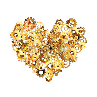 Complicated clockwork mechanism with glossy golden steampunk cogwheels in heart shape on white