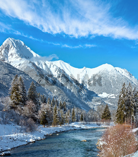 Winter mountain river, Austria, Tirol