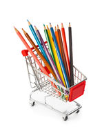 Multicolored pencils in shopping cart