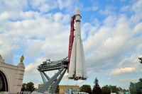 Moscow, Russia - august 12, 2019: Vostok rocket and launcher at the Exhibition of achievements of the national economy