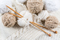 Wool for knitting with knitting needles in bright colors